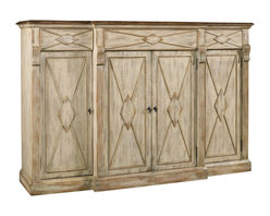 Hooker Furniture - Four-Door Three-Drawer Credenza, Dune and Drift - You'll have lots of storage in a glorious package of four doors and three drawers! Stack your linens and store your silver so everything will be at your fingertips. There are reversible shelves behind the doors for wine storage too. A place for everything and everything in its place.