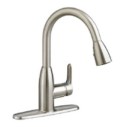 """American Standard - American Standard 4175.300.075 Colony Pull-Down Kitchen Faucet, Matte Black - This American Standard 4175.300.075 Colony Soft Pull-Down Kitchen Faucet is part of the Colony collection, and comes in a beautiful Stainless Steel finish. This pull-down kitchen faucet features a 14-5/8"""" high brass swivel spout, a metal lever handle, and 20"""" braided flexible supply hoses with 3/8"""" compression connectors."""