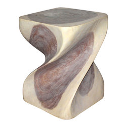 Kammika - Big Twist Sust Wood 16 x 16 x 20 inch Ht w Eco Friendly Livos Agate Grey Oil Fin - Revel in the simplistic beauty of the Sustainable Monkey Pod Wood Big Twist 16 inch x 16 inch x 20 inch Height with Eco Friendly, Natural Food-safe Livos Agate Grey Oil Finish End Table designed for stand-alone use or in groups. Sustainable wood sources and eco friendly finishes create works of environmentally friendly functional art. Each is hand carved from a single piece of sustainable Monkey Pod wood - no two are alike. Each is a Work of Art - Sustainable Wood Eco Friendly Functional Art! After each Sustainable Monkey Pod Wood (Acacia, Koa, Rain Tree grown for wood carving) piece is kiln dried, carved and sanded by Craftspeople from the Chiang Mai area in Northern Thailand, it is rubbed in eco friendly Livos natural Agate Grey oil creating a water resistant and food safe finish. These natural oils are translucent so the wood grain detail is highlighted. The oil makes the wood turn to antique white look with a light grey patina finish. The light portions of wood turn to shades of beige and the dark lightens to shades of brown with a light transparent grey top coat over the white antique looking undercoat. There is no oily feel and cannot bleed into carpets. All products are dried in solar kilns and or propane kilns. No chemicals are used in the process, ever. Made from the branches of the quick-growing Acacia tree in Thailand - where each branch is cut and carved to order (allowing the tree to continue growing), this piece is packaged with cartons from recycled cardboard with no plastic or other fillers. As this is a natural product, the color and grain of your piece of nature will be unique; it may include small checks or cracks that occur when the wood is dried. Sizes are approximate. Products could have visible marks from tools used, patches from small repairs, knot holes, natural inclusions, and/or worm holes. There may be various separations or cracks on your piece when it arrives. There may be some slight variation in size, color, texture, and finish color.Only listed product included.