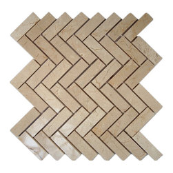 """Crema Marfil Herringbone 1x3 Marble Mosaic Tiles - Crema Marfil Herringbone 1""""x3"""" Marble Tile This marble mosaic will provide endless design possibilities from contemporary to classic. It creates a great focal point to suit a variety of settings. The mesh backing not only simplifies installation, it also allows the tiles to be separated which adds to their design flexibility. Chip Size: 1""""x3"""" Color: Crema Marfil Material: Marble Finish: Polished Sold by the Sheet - each sheet measures 12"""" x 12"""" (1 sq. ft.) Thickness: 8mm Please note each lot will vary from the next."""