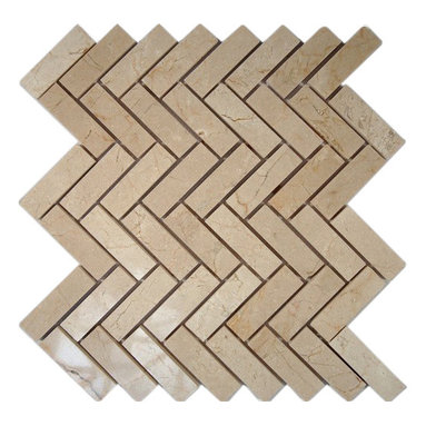 "Crema Marfil Herringbone 1x3 Marble Mosaic Tiles - Crema Marfil Herringbone 1""x3"" Marble Tile This marble mosaic will provide endless design possibilities from contemporary to classic. It creates a great focal point to suit a variety of settings. The mesh backing not only simplifies installation, it also allows the tiles to be separated which adds to their design flexibility. Chip Size: 1""x3"" Color: Crema Marfil Material: Marble Finish: Polished Sold by the Sheet - each sheet measures 12"" x 12"" (1 sq. ft.) Thickness: 8mm Please note each lot will vary from the next."