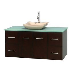 """Wyndham Collection - Centra 48"""" Espresso Single Vanity, Green Glass Top, Avalon Ivory Marble Sink - Simplicity and elegance combine in the perfect lines of the Centra vanity by the Wyndham Collection. If cutting-edge contemporary design is your style then the Centra vanity is for you - modern, chic and built to last a lifetime. Available with green glass, pure white man-made stone, ivory marble or white carrera marble counters, with stunning vessel or undermount sink(s) and matching mirror(s). Featuring soft close door hinges, drawer glides, and meticulously finished with brushed chrome hardware. The attention to detail on this beautiful vanity is second to none."""
