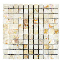 STONE TILE US - Stonetileus 10 pieces (10 Sq.ft) of Mosaic Leonardo 1x1 Tumbled - STONE TILE US - Mosaic Tile - Leonardo 1x1 Tumbled Specifications: Coverage: 1 Sq.ft size: 12x12 - 1 Sq.ft/Sheet Piece per Sheet : 121 pc(s) Tile size: 12x12 Tile thickness: 3/8 Sheet mount:Meshed back Stone tiles have natural variations therefore color may vary between tiles. This tile contains mixture of gold - white - light brown - dark brown - yellow - copper - red - and color movement expectation of low variation, The beauty of this natural stone Mosaic comes with the convenience of high quality and easy installation advantage. This tile has Tumbled surface, and this makes them ideal for walls, kitchen, bathroom, Sheets are curved on all four sides, allowing them to fit together to produce a seamless surface area. Recommended use: Indoor - High traffic - Low traffic - Recommended areas: Leonardo 1x1 Tumbled tile ideal for walls, kitchen, bathroom, Free shipping.. Set of 10 pieces, Covers 10 sq.ft.