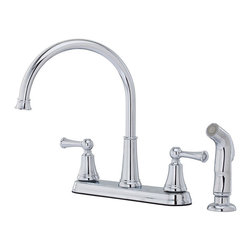 Price Pfister - Pfister Bremerton Two Handle Widespread Lead Free Kitchen Faucet With Side Spray - The Pfister Bremerton Two Handle Widespread Lead Free Kitchen Faucet With Side Spray features traditional styling with a convenient side spray that fits any kitchen decor. Available in Chrome or Stainless Steel finishes.