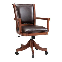 Hillsdale - Hillsdale Park View Arm Chair in Medium Brown Oak - Hillsdale - Poker Table Chairs - 4186800 - The Hillsdale Park View Game Chair is constructed from solid woods climate controlled wood composites and veneers in a medium brown oak finish. It features a deep brown leather seat cushion resting arms adjustable height positions and casters for easy mobility. Add traditional charm to your game room den or kitchen with the Park View Game Chair.