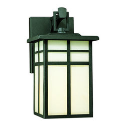 "Thomas Lighting - Thomas Lighting SL91047 Black Mission Traditional / Classic 1 Light - Thomas Lighting SL9104 Traditional / Classic 1 Light Outdoor Wall Sconce from the Mission Collection  One-light outdoor wall fixture  Black with Cream Colored Glass  Painted Bronze with Clear Seedy Glass  Extends: 7-1/2"", height from center of outlet box: 3-1/2""  Features Thomas Lightings Exclusive ""Easy Hanger"" System that makes installation a snap!  1 100w Max Medium Base [Bulb(s) Not Included] Back plate measures 4 1/4""W x 5 5/8""H"