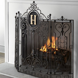 """Horchow - Personalized Fireplace Screen - GOLD - Personalized Fireplace ScreenDetailsHandcrafted of iron.Mesh backing allows for functional use with wood or gas logs.Hand-painted burnished-gold finish.Personalization is single initial in style and color shown.Three panels; 48""""W x 0.5""""D x 41.5""""T overall.Imported.Boxed weight approximately 41 lbs. Please note that this item may require additional delivery and processing charges.You will be able to specify personalization details after adding item(s) to your shopping cart. Please order carefully. Orders for personalized items cannot be canceled and personalized items cannot be returned."""