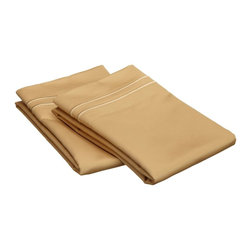 "Egyptian Cotton 800 Thread Count Embroidered Pillowcase Set - King - Gold/Gold - Our 800 Thread Count Pillowcase Set offers superior quality and softness for elevated comfort. They are composed of premium, long-staple cotton and have a ""Sateen"" finish as they are woven to display a lustrous sheen that resembles satin. Each set includes (2) Pillowcases 20""x40""."