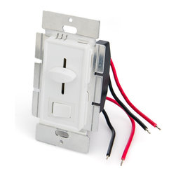 SLVDx-60W LED Switch and Dimmer for Standard Wall Switch Box - LED switch and dimmer combo designed to fit in standard wall switch boxes. Universal single color LED dimmer that can dim any 12VDC or 24VDC LED products from 0%-100% using Pulse Width Modulation (PWM) slide control. 60W maximum load capacity. 4.5in wire leads for input and output connection. Dimming level is adjusted by built-in slider control. Available in white and almond housing. Optional wall trim plate also available