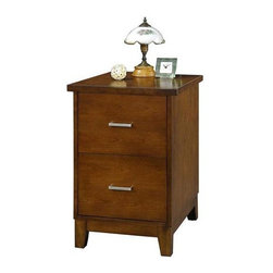 Winners Only - Koncept File Cabinet - Two drawers. English dovetail drawer construction. Full extension metal ball bearing glides. Accommodates letter and legal size files. Brown cherry finish. 22 in. W x 17 in. D x 30 in. H