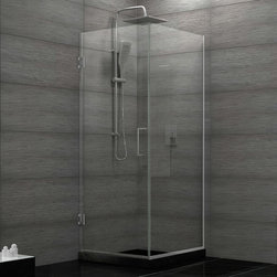 "Dreamline - Unidoor Plus 30-3/8""W x 30""D x 72""H Hinged Shower Enclosure - The Unidoor Plus Shower Enclosure will impress with the fluid style of a completely frameless glass design. Premium thick tempered glass combined with high quality solid brass hardware deliver the rich look of custom glass at an incredible value. The glass has a fingerprint-free frosted band which adds an element of design and privacy. The Unidoor Plus Collection shines on your shower space with a streamlined design and elegant touches."