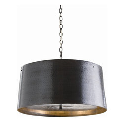 Arteriors - Anderson Pendant By Arteriors - Lighten up with a little heavy metal. This gorgeous three-light drum pendant features a hand-hammered bronze finish, a perforated metal diffuser to allow light through without glare and hangs from a matching link chain. Like a great piece of jewelry for your room, this light is sure to shine.
