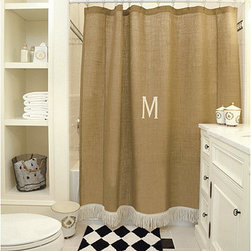 "Ballard Designs - Burlap Shower Curtain with Bullion Fringe - Waterproof liner required. Dry clean. Imported. We created this distinctive bathroom curtain using our signature burlap because the neutral color and natural texture blend with any palette. The off-white cotton bullion fringe gives it a little sassy attitude. Hand finished with 3"" rod pocket and off-white cotton bullion fringe.Burlap Show Curtain features:. . . *Monogramming available for an additional charge.*Allow 3 to 5 days for monogramming plus shipping time.*Please note that personalized items are non-returnable"