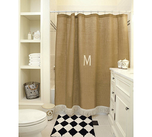 """Ballard Designs - Burlap Shower Curtain with Bullion Fringe - Waterproof liner required. Dry clean. Imported. We created this distinctive bathroom curtain using our signature burlap because the neutral color and natural texture blend with any palette. The off-white cotton bullion fringe gives it a little sassy attitude. Hand finished with 3"""" rod pocket and off-white cotton bullion fringe.Burlap Show Curtain features:. . . *Monogramming available for an additional charge.*Allow 3 to 5 days for monogramming plus shipping time.*Please note that personalized items are non-returnable"""