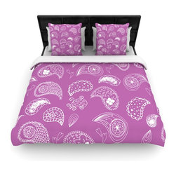"""Kess InHouse - Anneline Sophia """"Tropical Paisley"""" Purple White Cotton Duvet Cover (Twin, 68"""" x - Rest in comfort among this artistically inclined cotton blend duvet cover. This duvet cover is as light as a feather! You will be sure to be the envy of all of your guests with this aesthetically pleasing duvet. We highly recommend washing this as many times as you like as this material will not fade or lose comfort. Cotton blended, this duvet cover is not only beautiful and artistic but can be used year round with a duvet insert! Add our cotton shams to make your bed complete and looking stylish and artistic!"""