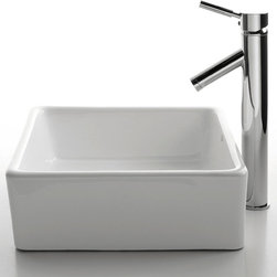 Kraus - Kraus C-KCV-120-1002SN White Square Ceramic Sink and Sheven Faucet - Add a touch of elegance to your bathroom with a ceramic sink combo from Kraus