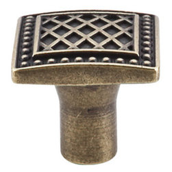 "Top Knobs - Trevi Square Knob 1 1/4"" - German Bronze - Width - 1 1/4"", Projection - 1 1/8"", Base Diameter - 1/2"""