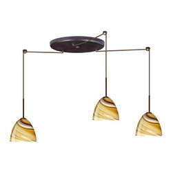 Besa Lighting - Besa Lighting 3BW-7572HN Sasha II 3 Light Cord-Hung Mini Pendant - Sasha II has a classical bell shape that complements aesthetic, while also built for optimal illumination. This unique decor is handcrafted, with layered swirls of yellow-amber and golden-brown against white, finished to a high gloss. It's classic swirl pattern and high gloss surface has a truly florid gleam. Honey is a hand-blown glass designed to have a shiny and polished finish. The glass is gathered and rolled into shape a unique pattern is formed that cannot be replicated. This blown glass is handcrafted by a skilled artisan, utilizing century-old techniques passed down from generation to generation. Each piece of this decor has its own unique artistic nature that can be individually appreciated. The cord pendant fixture is equipped with three (3) 10' SVT cordsets and a 3-light large round canopy, three (3) suspension stemhooks included.Features: