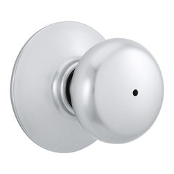 Schlage - Plymouth Satin Chrome Bed and Bath Knob - F40 - Manufacturer SKU: F40 PLY 626. Handle Type: Knob. Use on a 1-3/8 in. to 1-3/4 in. thick door. Universal latch and Triple Option faceplate fit standard door preparations. Privacy knob, with push-button lock, for use on an interior bathroom or bedroom door. All-metal chassis for durability. Satin chrome finish. Includes hardware for quick, 1-tool installation. Includes unlocking tool. ANSI Grade 2. Shown in Satin Chrome. 2.1 in. L x 2.8 in. W x 2.8 in. H (1.1 lbs)