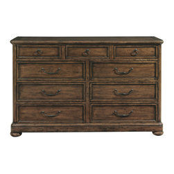 Bernhardt - Bernhardt Vintage Patina Dressing Chest in Tobacco - Get your day started by retrieving your clothes from a piece of furniture that epitomizes the sophistication and dignity you bring your life. This classical looking Vintage Patina Dressing Chest by Bernhardtis exquisitely crafted from flat-cut mahogany veneers. The top left and right drawers have wrapped pads. Meanwhile, the dressers top surface is great place to put a flat-screen television. A cable box or DVD player can be housed in the fully-extendable top center drawer has a drop front face. There is a cut-out in the drawer back and a corresponding grommet hole in the back panel of the cabinet for convenient wire management. This dresser is available in either a deep rich Molasses finish and an earthy mid-tone Tobacco finish. Both finishes are hand-polished with a melted French waxing finish.