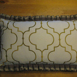 Pillows - Custom 12x20 pillow cover with contrasting ruffle trim and zipper closure in ivory/citron medallion print fabric