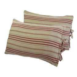 "Interior Nature - French Red Stripe Pillow, Pre-softened Decorative Throw Pillow - A thick herringbone weave with a relaxed softness. This original French Red Stripe fabric was naturally weathered in sunshine. Think beach cottage. Softness for relaxation after a day in the sun. 100% cotton. A natural for a seaside. Feather/down insert included. 12"" x 18""."