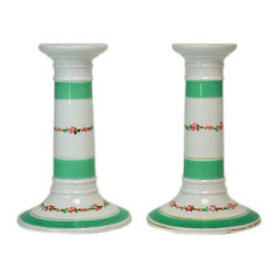 Lavish Shoestring - Consigned 2 Porcelain Green Floral Candlesticks, English Victorian, 19th Century - This is a vintage one-of-a-kind item.