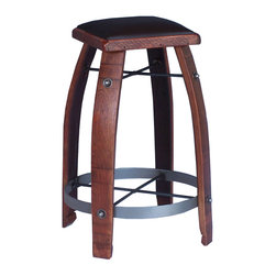 "2 Day Designs - 28"" Stave Stool with Chocolate Leather Top - This stool is made from authentic wine barrel staves, rough sawn pine with a rich leather top and wrought iron"
