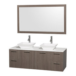 "Wyndham Collection - Amare 60"" Grey Oak Double Sink Vanity w/ White Man-Made Stone Top & 58"" Mirror - Modern clean lines and a truly elegant design aesthetic meet affordability in the Wyndham Collection Amare Vanity. Available with green glass or pure white man-made stone counters, and featuring soft close door hinges and drawer glides, you'll never hear a noisy door again! Meticulously finished with brushed Chrome hardware, the attention to detail on this elegant contemporary vanity is unrivalled."
