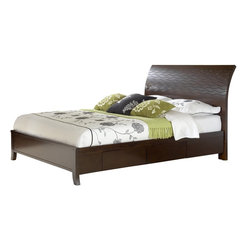 "Modus Furniture - ""Modus Furniture Legend Wood Four Drawer Storage Bed, Chocolate Brown"" - ""With subtle, flowing lines, the Legend Wood bedroom embodies casual contemporary design. Bentwood drawer fronts framed within horizontal parting rails are complemented by a precision-cut stacked wave pattern on the headboard. A satin chrome bar pull mounted vertically at the apex of each drawer face completes the look.Crafted from Mahogany solid wood and Cherry wood veneer, Legend Wood features a Chocolate Brown NC Lacquer finish, with tones ranging from Ebony to medium Cherry, just light enough to reveal the handsome natural characteristics of the Cherry veneer, including gum streaks, pin knots and random swirls.Legend Wood is available with a wide range of casegoods, including multiple dresser and mirror options, and a choice of platform bed designs, both of which are available with or without under-bed drawer storage. Casegoods feature sanded and stained solid wood drawer boxes mounted on full extension, ball bearing glides. Drawers are French dovetailed in the front, English dovetailed in the back. Dresser and chest top drawers are felt lined for storing delicate items.Wipe clean with a damp clothMahogany solid wood, Cherry wood veneer; low-emission engineered woodSteam-shaped headboard panel with intricate laser-cut wave patternHand-applied multi-step finish highlights the wood's natural grain with tones ranging from a deep chocolate to a rich golden brown, with occasional cherry tone highlights2 pre-assembled storage drawers attach to each side rail; drawers feature integrated pulls, full extension ball bearing drawer glides, sanded & stained solid wood drawer boxes and dovetail joineryAssembled Unit Dimensions (W x L x D):79"""" x 46"""" x 87"""