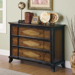 Coaster - Black / Cherry Traditional Accent Cabinet - This two tone finish cabinet features a artistic wood inlay in a diamond pattern on the drawers, this makes for a great focal point in your room.
