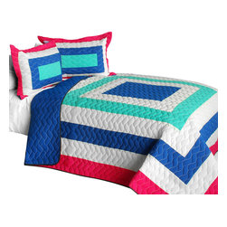 Blancho Bedding - [Sea's Passion] Cotton Vermicelli-Quilted Patchwork Geometric Quilt Set-Queen - The [Sea's Passion] Cotton Vermicelli-Quilted Patchwork Geometric Quilt Set-Queen includes a quilt and two quilted shams. This pretty quilt set is handmade and some quilting may be slightly curved. The pretty handmade quilt set make a stunning and warm gift for you and a loved one! For convenience, all bedding components are machine washable on cold in the gentle cycle and can be dried on low heat and will last for years. Intricate vermicelli quilting provides a rich surface texture. This vermicelli-quilted quilt set will refresh your bedroom decor instantly, create a cozy and inviting atmosphere and is sure to transform the look of your bedroom or guest room. (Dimensions: Full/Queen quilt: 90.5 inches x 90.5 inches; Standard sham: 24 inches x 33.8 inches)