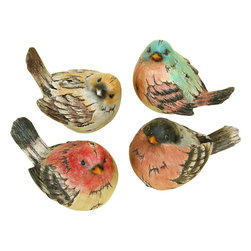 Benzara - Polystone Bird Real Like Beautiful Birds - Set of 4 - The small spaces in office and home filled with nice looking sculptures support the interior decoration in great way. Stores dealing in home decor and furnishing products, offer wide range of small sized table decor accents. 98259 POLYSTONE BIRD Set of 4 is one of those. It comes as set of four colorful real like beautiful birds.