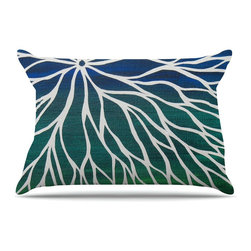 "Kess InHouse - NL Designs ""Ocean Flower"" Teal Green Pillow Case, Standard (30"" x 20"") - This pillowcase, is just as bunny soft as the Kess InHouse duvet. It's made of microfiber velvety fleece. This machine washable fleece pillow case is the perfect accent to any duvet. Be your Bed's Curator."