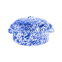 Crow Canyon Home - Stock Pot, 2.5-Quart, White and Blue Splatter - Stew for two, anyone? Cook sauces and smaller portions of your favorite big pot meals. The porcelain enameled steel heats the contents quickly.