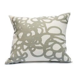 "Area - Daisy Pillow in Gray - Area - Soft graphic loops. Grey printed on off white pure linen with feather & down-filled insert. 16"" x 21"""