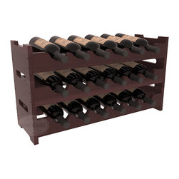18 Bottle Mini Scalloped Wine Rack in Redwood with Walnut Stain + Satin Finish - Stack three 6 bottle racks for proper storage of 18 wine bottles. This rack requires light hardware for assembly and is ready to use as soon as it arrives. Makes the perfect gift and stores wine on any flat surface.