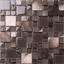 "Mosaic Decor - Brown Bronze Metal Glass Mix Kitchen Backsplash Tile, 12""x 12"" Sheet - Brown bronze color metal and glass tile mixed backsplash tile."
