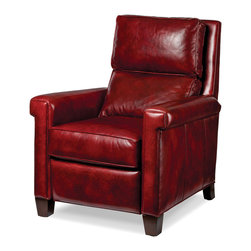 Randall Allan - Megan Recliner - This sleek and chic chair offers a slimmer profile than your usual big recliners, but it certainly doesn't skimp on style. With its slightly squared arms and dark and syrupy cherry red leather, it's a lot of sweetness without the girth.