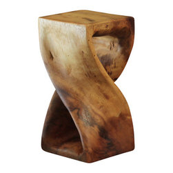 Strata Furniture - Mini Twist - This piece will get your heart all twisted up with adoration! Hand carved from eco-friendly Monkey Pod wood with an eco-friendly Livos Black Walnut Oil, this Twist sits just 10 inches tall and 5-by-5 inches in width. It is truly one of a kind due to the variations in the wood's colors, grains, and knots. ! As with all natural exotic wood products there will be some slight variation in color, texture, and finish color. There will be various separations or cracks on your piece when it arrives - these naturally occurred as the wood was dried and shrank. These variations do not compromise the structural performance or integrity of the wood and are considered inherent to the natural beauty of the design. These variations are not considered flaws and not acceptable reasons for returns.