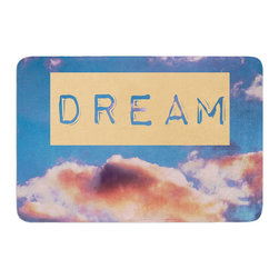 "KESS InHouse - Iris Lehnhardt ""DREAM"" Clouds Blue Memory Foam Bath Mat (17"" x 24"") - These super absorbent bath mats will add comfort and style to your bathroom. These memory foam mats will feel like you are in a spa every time you step out of the shower. Available in two sizes, 17"" x 24"" and 24"" x 36"", with a .5"" thickness and non skid backing, these will fit every style of bathroom. Add comfort like never before in front of your vanity, sink, bathtub, shower or even laundry room. Machine wash cold, gentle cycle, tumble dry low or lay flat to dry. Printed on single side."