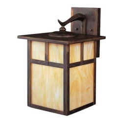 "Kichler Lighting - Kichler Lighting Alameda 18W Fluorescent Wall Mount, Canyon View w/... - Kichler Lighting Alameda 18W Fluorescent Wall Mount, Canyon View w/Honey Opalescent Glass, 14.5"" The Kichler Lighting 10960CV 1-Light Fluorescent Alameda Outdoor Wall Mount measures 9-Inch wide with a body height of 14-1/2-Inch. The Alameda Collection brings its simple, down-to-earth design to your outer decor adding an unassuming dynamic to your home's profile. Each fixture is made of durable solid brass that utilizes a classic lantern shape. A Canyon View finish is partnered with Honey Opalescent glass, adding instant beauty and ambiance. The 10960CV uses one 18-Watt GU24 bulb (included), giving it an Energy Star Qualified rating. For more energy savings, this light has an integrated photocell controlling when the fixture needs to be lit based on the outdoor light level. The height from the center of the wall opening is 3-1/2-Inch and the backplate measures 5 by 7-1/2-Inch, held to the junction box by two decorative canyon view screw-on ball caps. This fixture is sold one per package. Complies with the August 1, 2009 revision of the California Title 24 building code standards. Certified and listed to UL/CSA/ETL standards for wet location use in the USA and Canada. Since 1938, Kichler Lighting has offered a distinctive array of lighting solutions that reflect your individual personality, tastes and plans. Extend a warm welcome with the Outdoor Collection by Kichler. Our durable exterior lanterns deliver an attractive finishing touch that emphasizes the beauty of your home and adds security for you and your guests. Kichler brings you an unparalleled variety of exciting style families, unique finishes, fresh colors and unequaled quality. Whether it's casual, contemporary, transitional or traditional, you'll find it with Kichler, lighting that defines your style."
