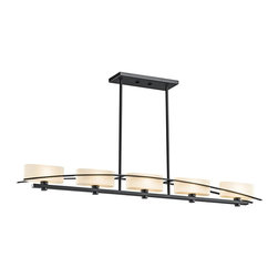 KICHLER - KICHLER 42018BK Suspension Transitional Kitchen Island / Billiard Light - Simplicity reigns supreme in this 5 light linear chandelier from the Suspension Collection. A gentle flowing arch sits cleanly against each fixture's perfect right angles and oval glass shades. A pure black finish adds the final elegant touch.