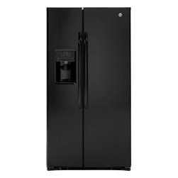 "GE - GSHF6LGBBB 36"" 25.9 Cu. Ft. Capacity Side-by-Side Refrigerator  External Ice and - Enhance your kitchen with this refrigerator that features digital controls and thru-the-door water and ice dispensing for convenience Adjustable shelves and slide-out drawers help organize your freezer and FrostGuard technology keeps your foods fresh"