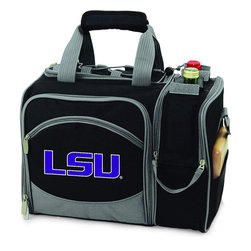 Picnic Time - Louisiana State University Malibu Picnic Pack in Black - Insulated pack with picnic service for 2 made of 600D polyester canvas. The elegant and unique Malibu shoulder pack is perfect for picnics, concerts, or travel. This tote has an integrated wine storage section and a spacious food storage section with removable liner. The adjustable shoulder strap makes it easy to carry. A wonderful gift idea.; College Name: Louisiana State University; Mascot: Tigers; Decoration: Embroidered; Includes: 2 Wine glasses (acrylic), 2 Napkins (cotton 14 x 14 in.), 1 Corkscrew (waiter style stainless steel), 1 Cutting board (wood 6 x 6 in.), 1 Cheese knife (stainless steel w/wood handle), 2 Plates (melamine 9 in.), 2 Ea. Knives forks & spoons (stainless steel), 2 Napkins (cotton 14 x 14 in.)