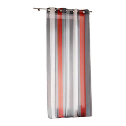 Evideco - Striped Sheer Grommet Curtain Panels Riviera, Coral-Colored, Gray and White - This modern striped sheer window curtain panel RIVIERA with grommets, 100% polyester, livens up any room and matches with a variety of decors. Dressed in a variegated large vertical stripe design with coral-colored/red, gray and white colors, this sheer v