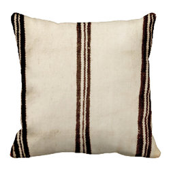 Vintage by Dounia - Consigned - Beni Ouarain Pillow I - Handwoven pillow by the Beni Ouarain tribe in the Middle Atlas mountains of Morocco. Gorgeous natural colors of cream and brown.