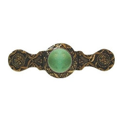 "Notting Hill - Notting Hill Victorian Jewel/Green Aventurine Pull - 24K Gold Plate - Notting Hill Decorative Hardware creates distinctive, high-end decorative cabinet hardware. Our cabinet knobs and handles are hand-cast of solid fine pewter and bronze with a variety of finishes. Notting Hill's decorative kitchen hardware features classic designs with exceptional detail and craftsmanship. Our collections offer decorative knobs, pulls, bin pulls, hinge plates, cabinet backplates, and appliance pulls. Dimensions: 3-7/8"" x 1-1/4"", Center To Center: 3"""