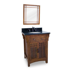 "Prairie-Styled Vanity Set - This set consists of 26-5/8"" wide solid wood vanity with amber colored mica glass inserted cabinet doors, preassembled granite top, and matching beveled glass wood framed mirror. Vanity features ample cabinet space for storage but is narrow enough to fit in smaller spaces. Vanity comes preassembled with a 2.5cm black granite top with 4"" tall backsplash, 17"" x 14"" bowl, and cut for 8"" faucet spread."