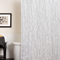 Lush Décor - White Romana Shower Curtain - Shower in style with this elegant handmade curtain. With white sheer voile ruffling contrasted in chic black, this sophisticated accent can be easily installed for an instant bathroom makeover.   72'' W x 72'' H 100% polyester Machine wash Imported